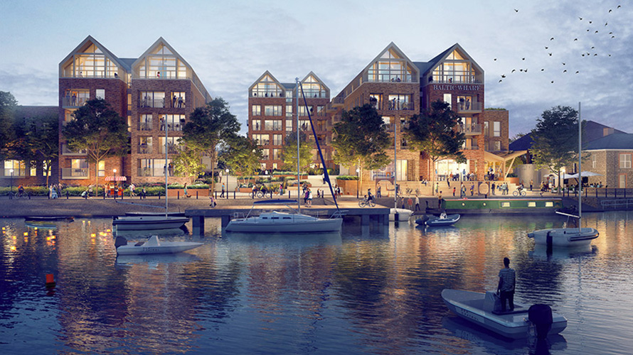 Artistic impression of the new neighbourhood at Baltic Wharf - view from otherside of river.
