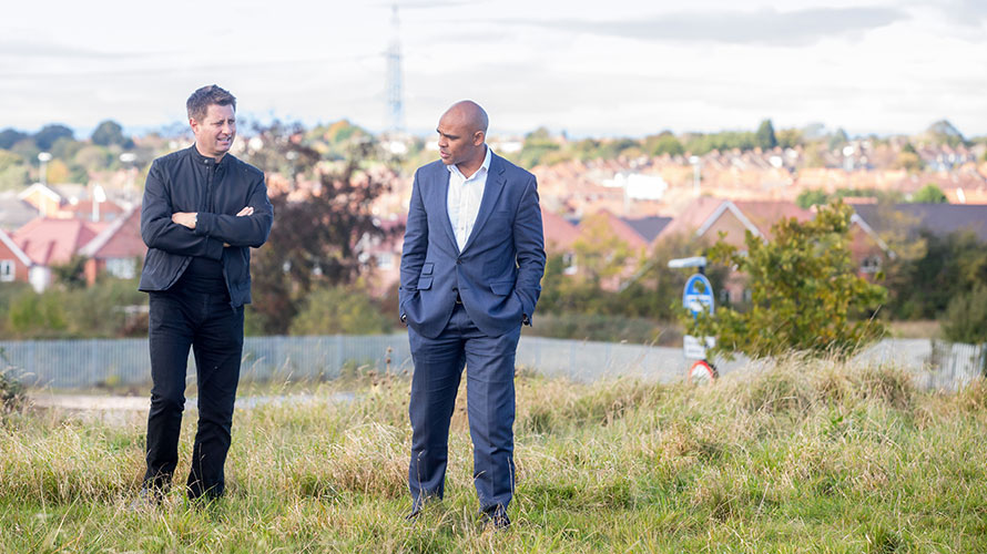 Mayor Marvin Rees and George Clarke - Talking on new housing site in Lockleaze Bristol.
