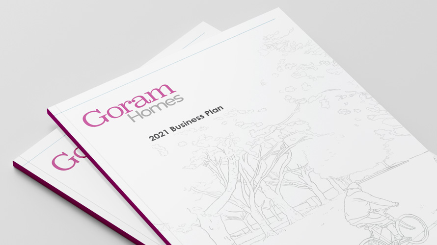 Cover of Goram Homes 2021 Business Plan - Outline drawing of cyclist riding alongside row of trees.