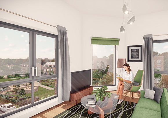 Artistic impression of Romney House apartment living space with aerial views from windows.
