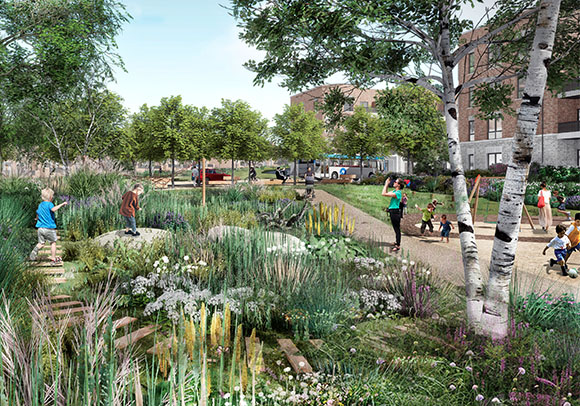 Artistic impression of the new neighbourhood at Romney House. Families and kids playing in landscaped green area.