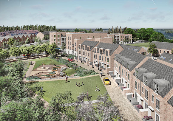 Artistic impression of the new neighbourhood at Romney House.
