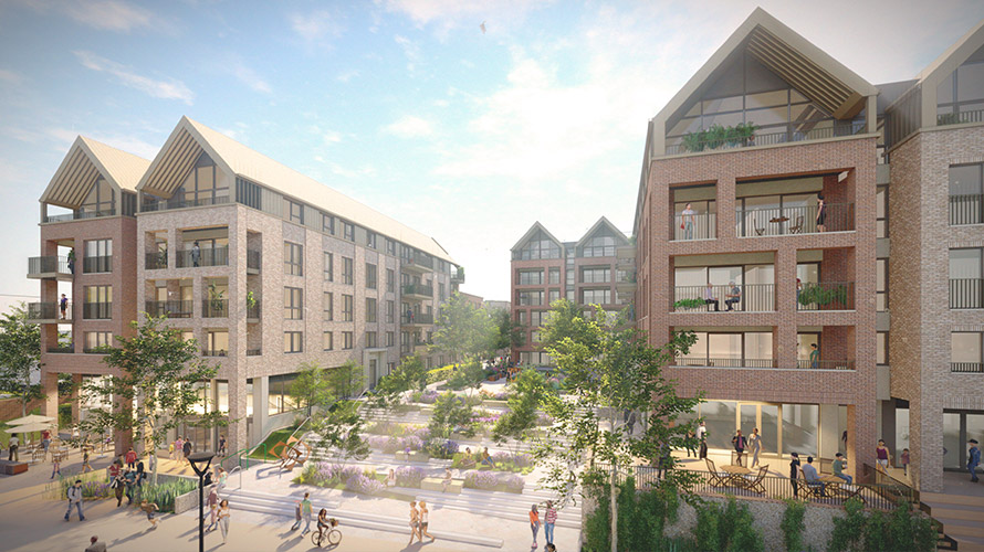 Artistic impression of the new neighbourhood at Baltic Wharf