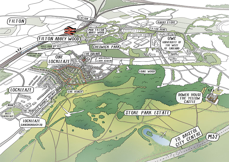 Romney House illustration aerial view with outline of development and surrounding area.