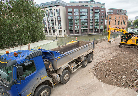 Truck reversing into site compound