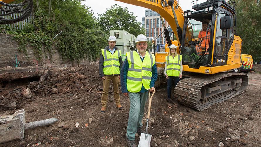 Cllr. Don Alexander, Cllr. Nicola Beech and Stephen Baker at Castle Park Energy Centre site